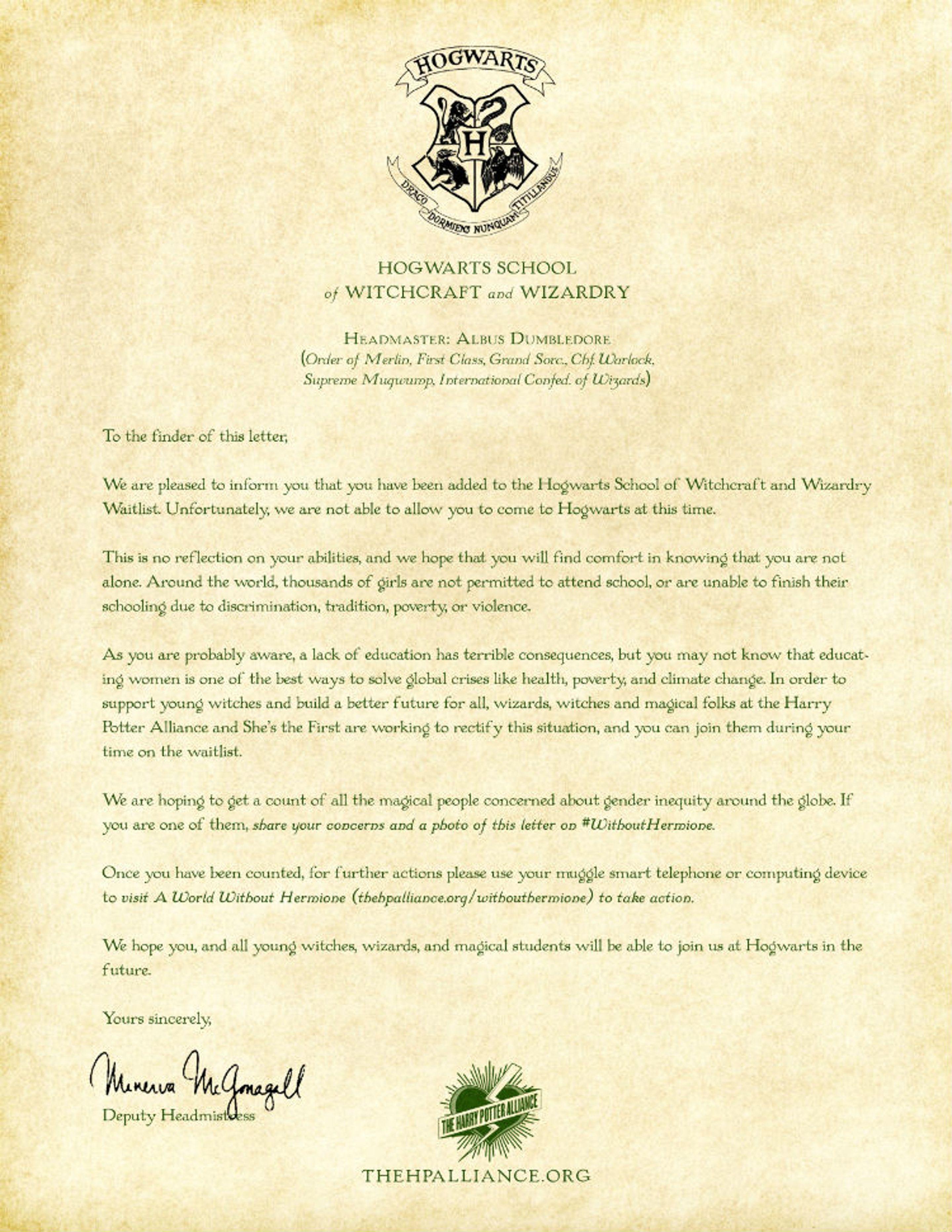 No One Wants This Letter From Professor Mcgonagall Hogwarts Brief Hogwarts Vorlagen