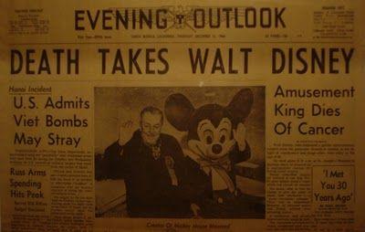 Walt Disney Died Newspaper 43755 | SITWEB