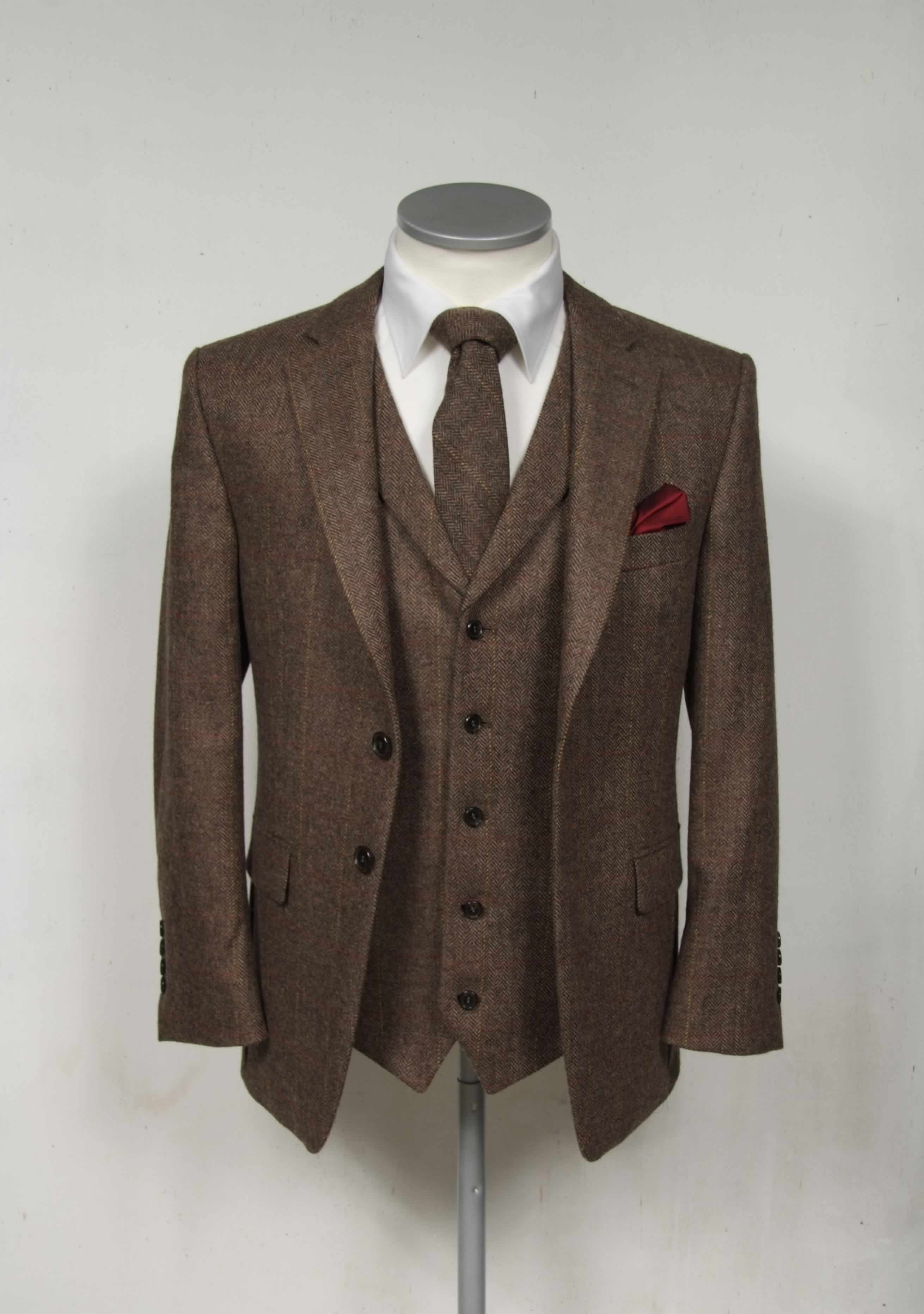 Burgundy Men/'s Classic Vintage Slim Fit Tweed Suits Wedding Dinner Suits Custom