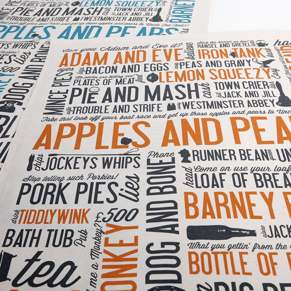 Cockney rhyming slang Rhyming slang, Tea towels, Kitchen