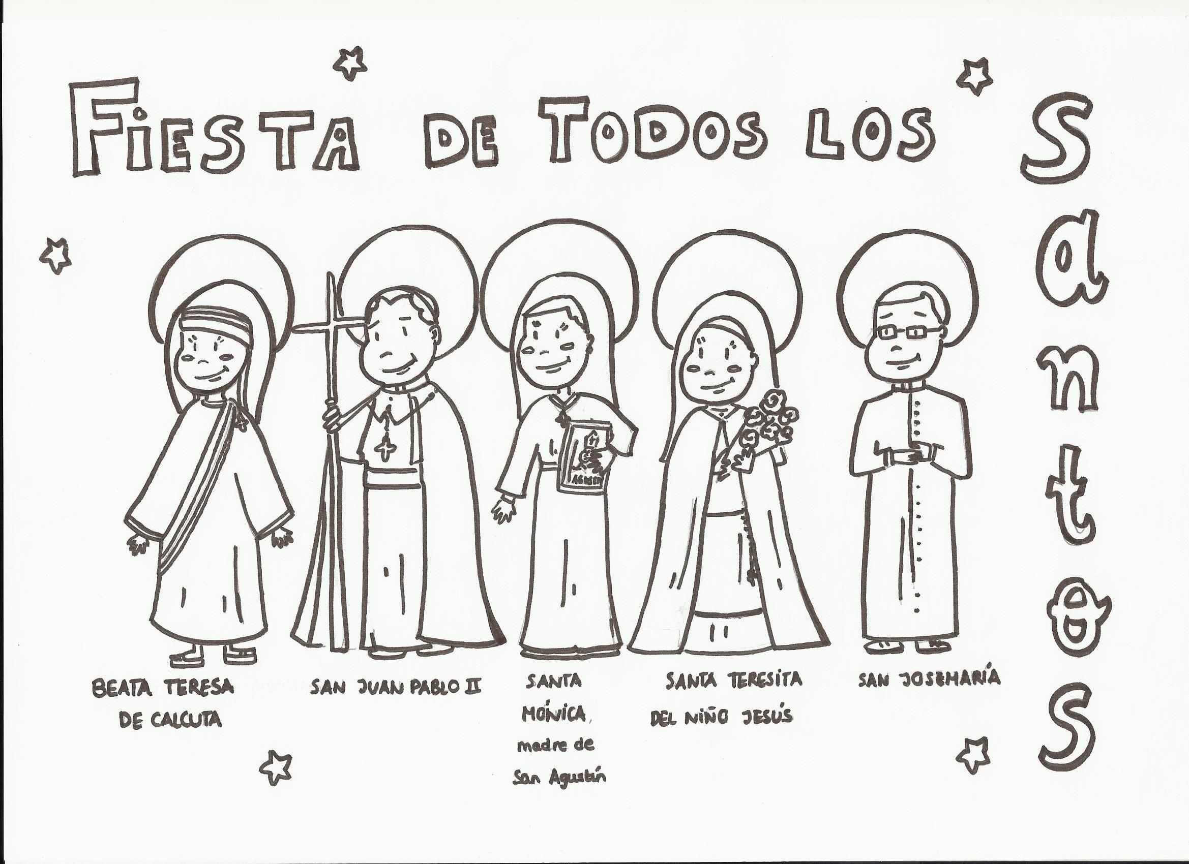 Fiesta de todos los santos, para colorear | primera comunion ...