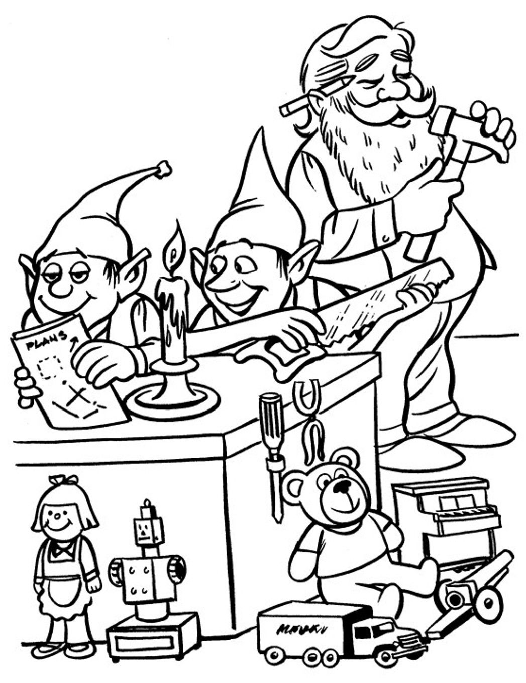 Printable Christmas Coloring Page Elves In Workshop Sketch