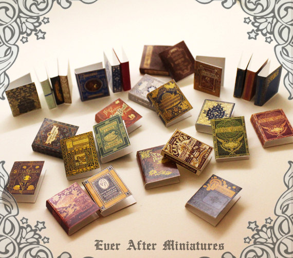 28 Dollhouse Miniature Book Cover Set 3 – Collection of 28 Antique