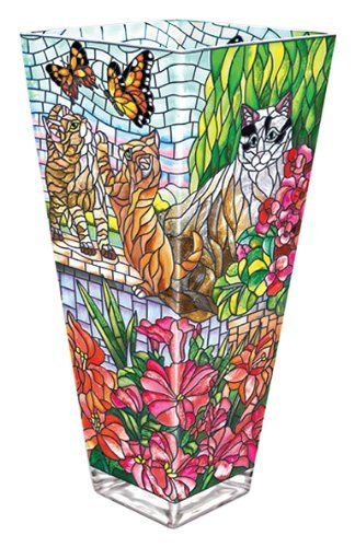 Amia Glass Vase with a Colorful, Hand-Painted Design Featuring Cats, 13-Inches Tall by Amia. $75.01. 5.5-inches wide by 5.5-inches long by 13-inches tall. Hand-painted glass. Functional vase. Bright and beautiful in a myriad of color and design, this individually hand-painted, glass vase by Amia promises to attract attention in your home.  Also makes a great gift for someone special.