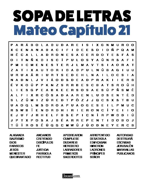 Sopa De Letras De La Biblia Gratis Mateo Capitulo 21 En 2020 Sopa De Letras Lecciones De La Escuela Dominical Letras