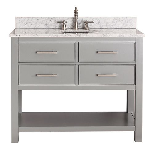 42 Inch Single Taupe Grey Bathroom Vanity Set With Mirror 42