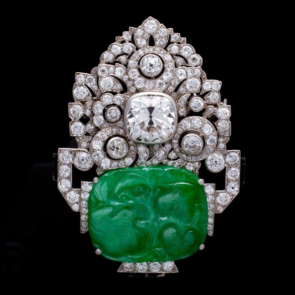 An Art Deco jadeite jade and diamond brooch by Mauboussin. Photos courtesy of Bonhams.