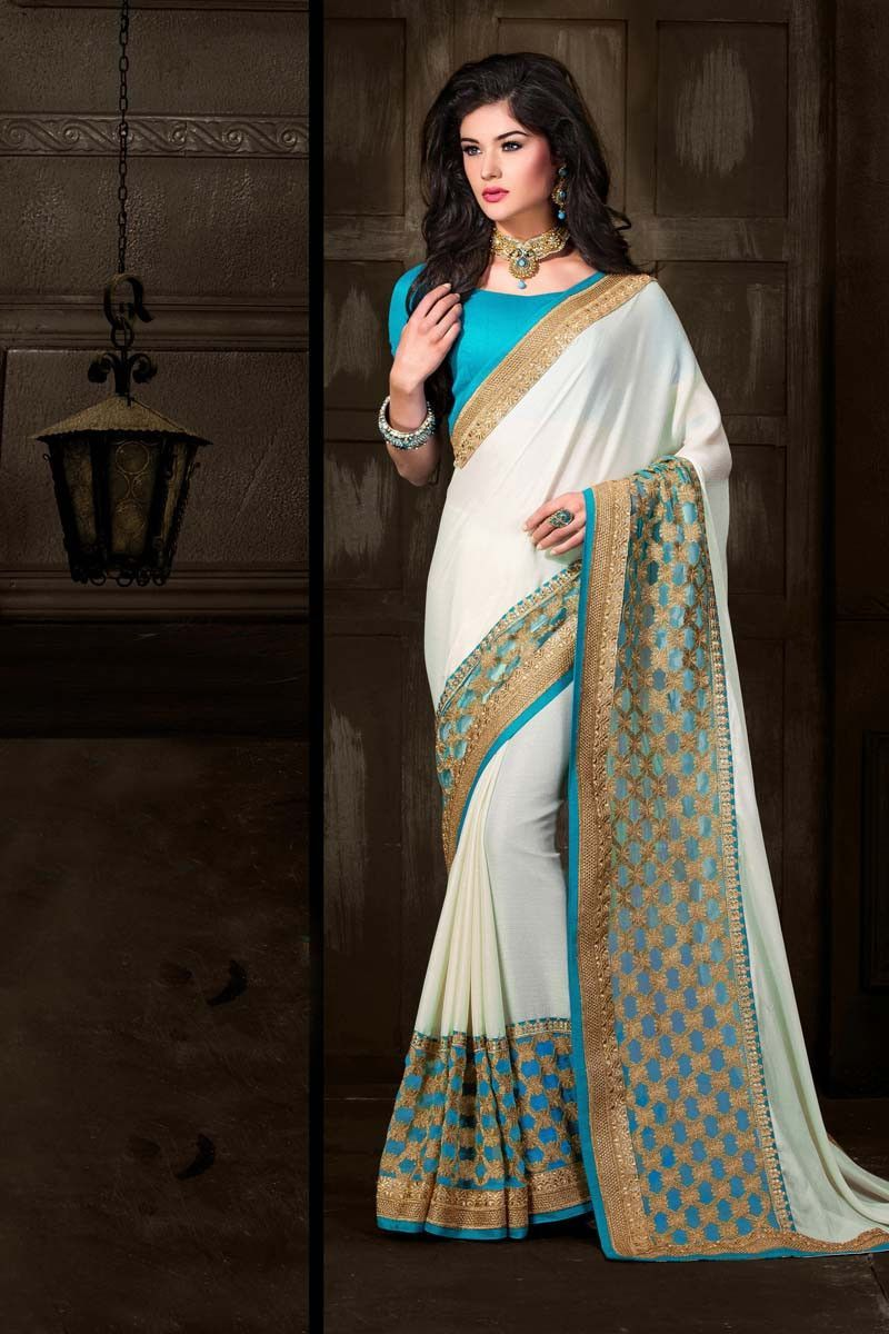 Off saree model images off white georgette party wear saree  products  pinterest  party