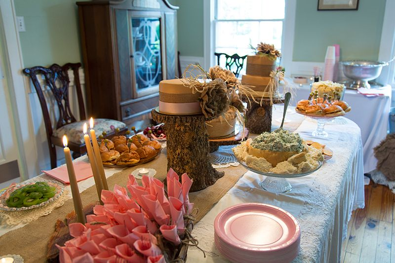 Rustic Neutral Burlap Baby Shower Food Table Baby Shower Baby