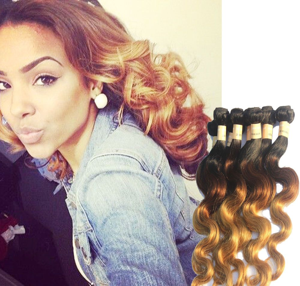 """US Stock 3Bundles 18""""20""""22"""" Ombre Human hair Extension BODY WAVE 1b33#27# 50g #WIGISS #HairExtension"""