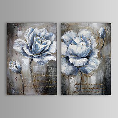 Acrylic Painting /'Rose Grey White/'Hand PaintedCanvas Pictures 80x80cm
