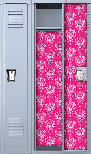 Hot Pink Damask Locker Wallpaper Decorations Lockers