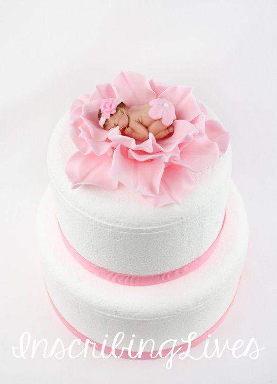 Baby On Flower Cake Topper Girl Baby Shower Cake Topper Pink Etsy In 2021 Baby Shower Cakes Girl Baby Shower Cakes Baby Shower Cake Topper