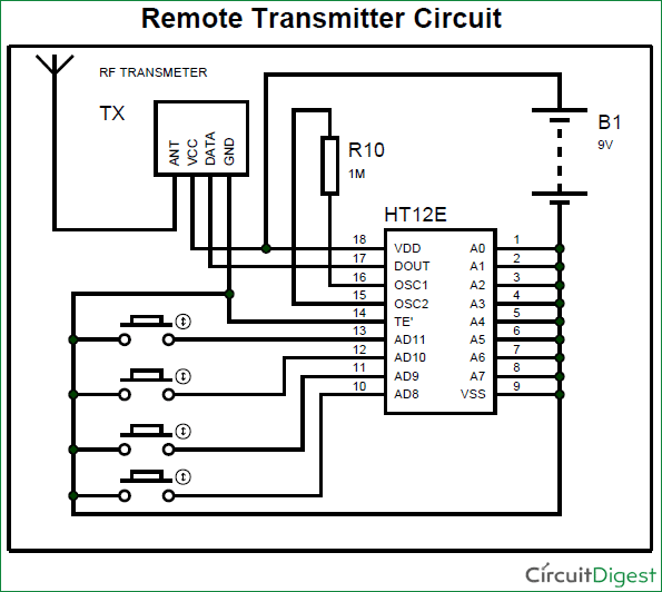 Rf Transmitter And Receiver Circuit Circuit Diagram Electronics Circuit Battery Charger Circuit
