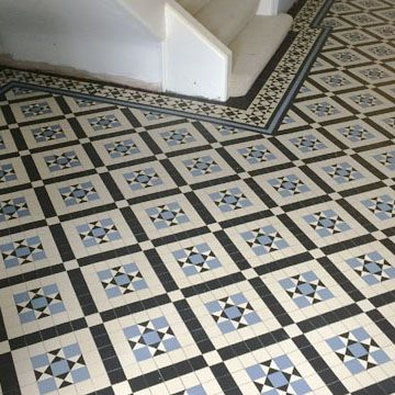 London Mosaic Victorian Black White And Blue Hall Floor Tiles