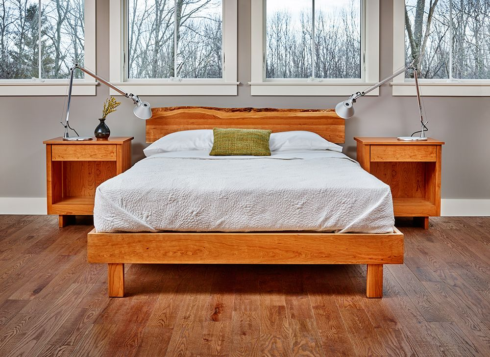 Lovely Cherry Live Edge Platform Bed W/ Nightstands, Made In Maine. Chilton  Furniture, Freeport, ME,