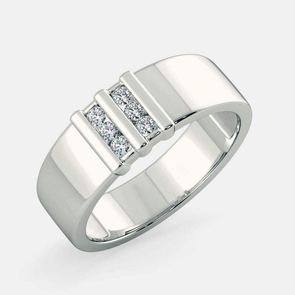 Real Yellow Gold On Silver Mens Round Cut Wedding Engagement Ring Band Diamond