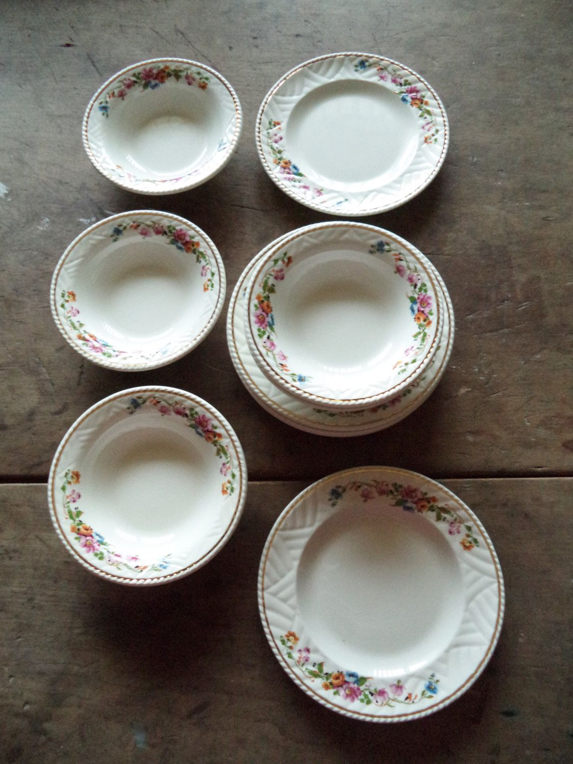 Vintage Bowls Plates Dundee Ware China Home U0026 Living Kitchen Dining Serving  Entertaining Bowl Plate Flowers