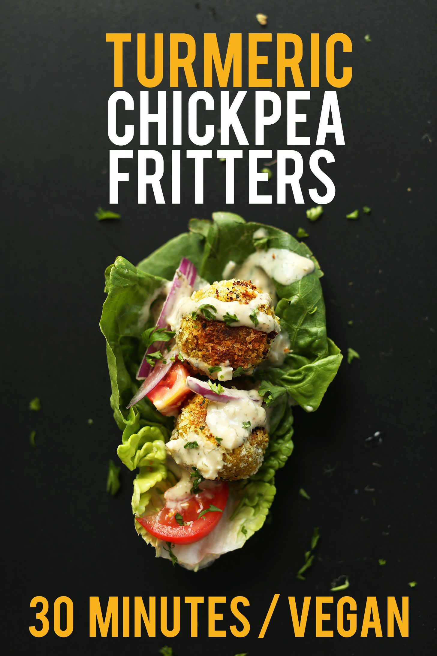 DELICIOUS 30Minute TURMERIC Chickpea Fritters Little falafel like pillows of bliss and SO healthy