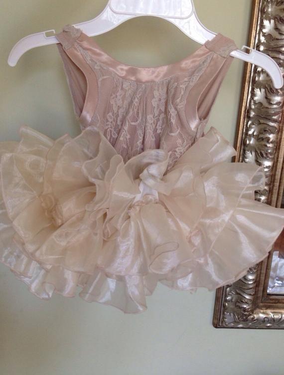 18b1fc31f4f ANGELA DRESS with Satin FOLDS - Flower Girl Dress - Girls Lace Dress ...