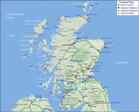 Map Of Scotland Map Of Scotland Showing Cities Towns