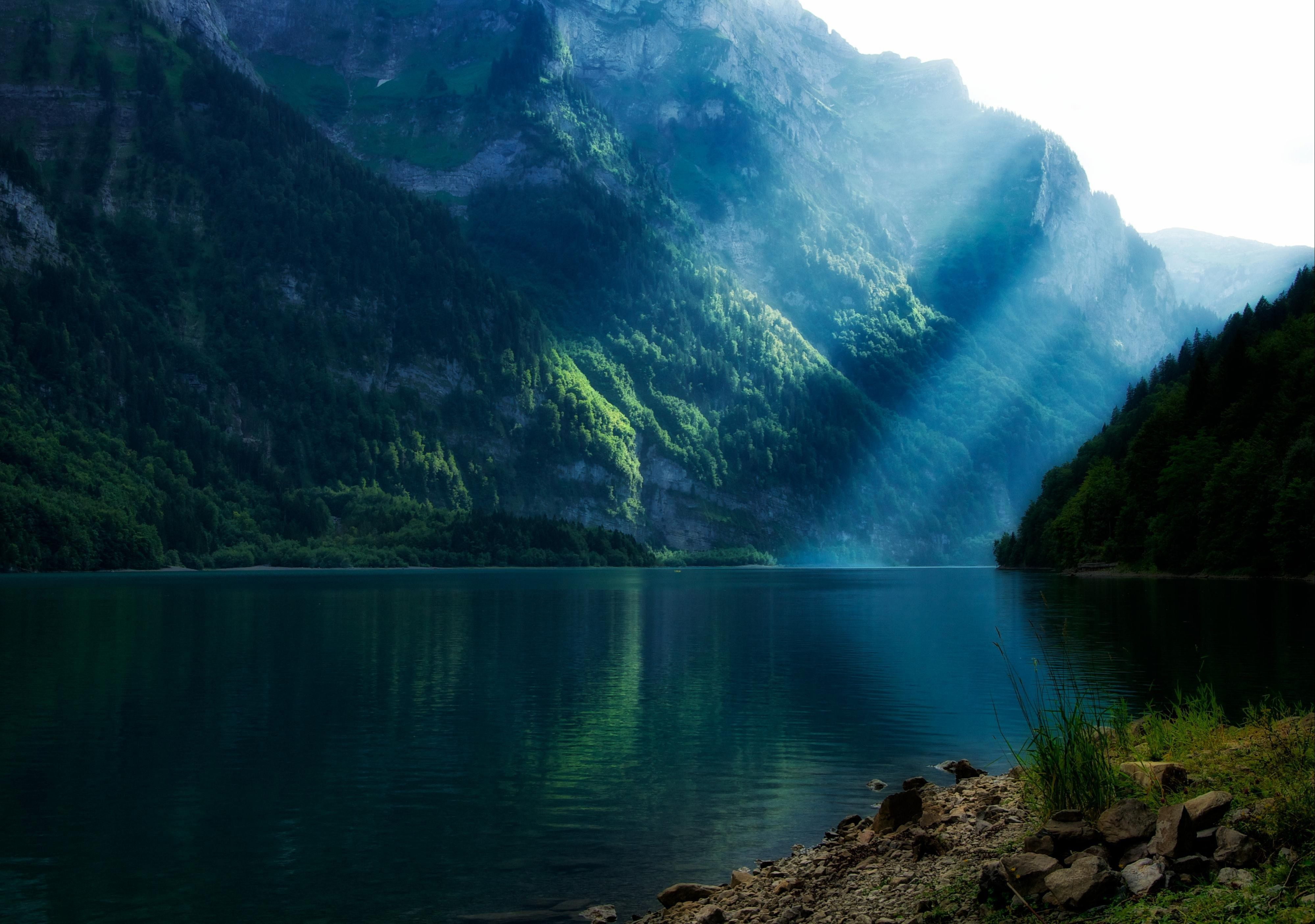 Lakes landscapes mountains sunlight sunray (3999x2811, landscapes, mountains, sunlight)  via www.allwallpaper.in
