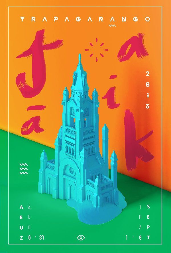 """Design developed for the annual festival of Trapagaran, my hometown. A 3D illustration with the iconic town's church starting to melt. The surrounding text JAIAK means """"carnival"""" in Basque. Finally it wans't chosen. #poster #c4d #design"""