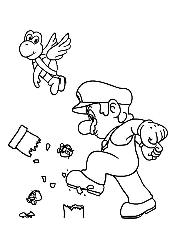 Mario Breaking A Pillar 16 With Images Mario Coloring Pages