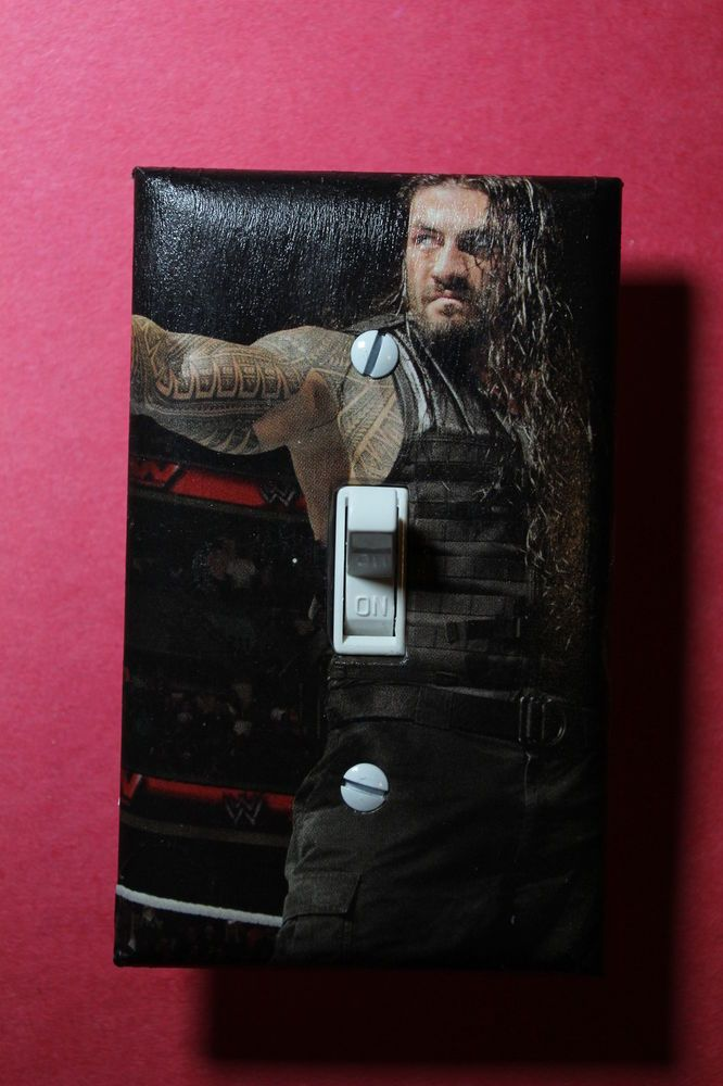 Roman reigns wwe light switch cover wrestling boys girls for Wwe bedroom accessories