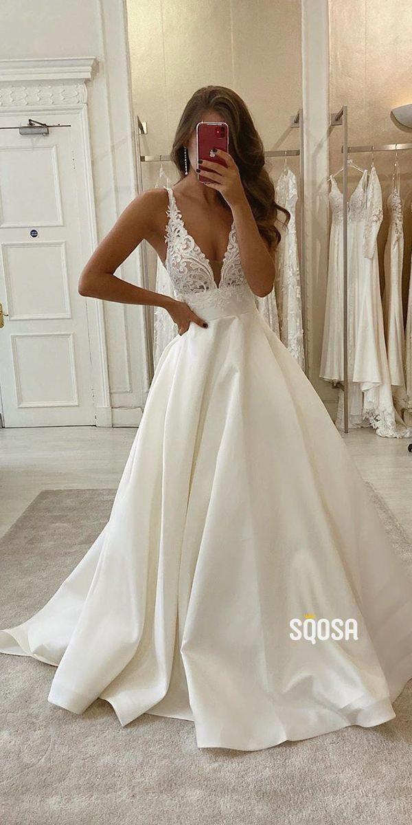 A-line V-neck Lace Top Ivory Satin Rustic Wedding Dress.#weddings #weddingdresse…