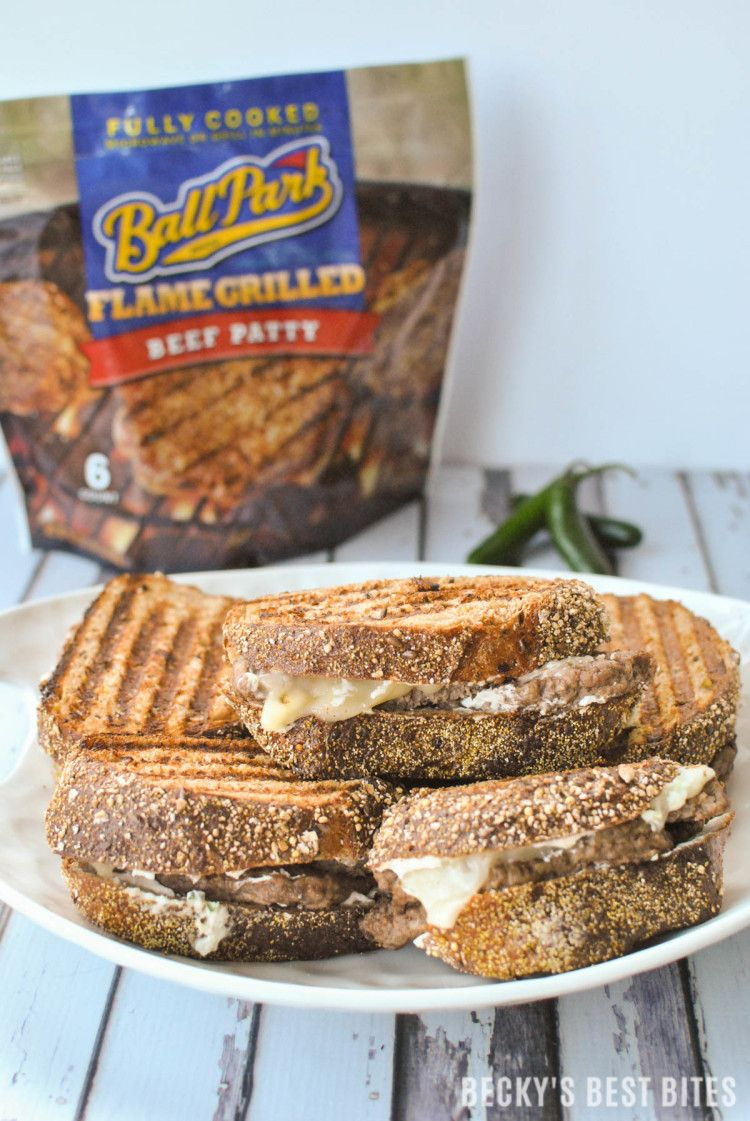 #Ad Jalapeño Popper Patty Melt Jalapeño Popper Patty Melt feature jalapeños, cream cheese, greek yogurt, parmesan cheese, whole grain bread, beef & melty cheese for a quick lunch or dinner recipe that guys on the go can enjoy! | beckysbestbites.com #BPPatties