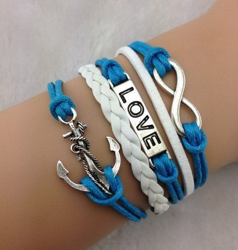 anchor bracelet,infinity bracelet,blue rope bracelets for lovers,wax cords bracelets,handmade jewelry,couple bracelets,leather wristbands,shop at Cost21.com, Shop link: http://www.cost21.com/-c-65_102.html