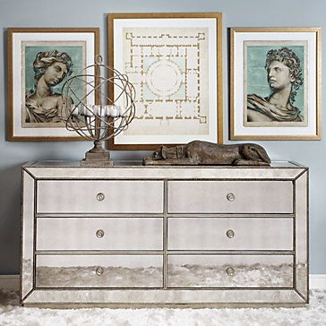Omni Mirrored 6 Drawer Chest Chests
