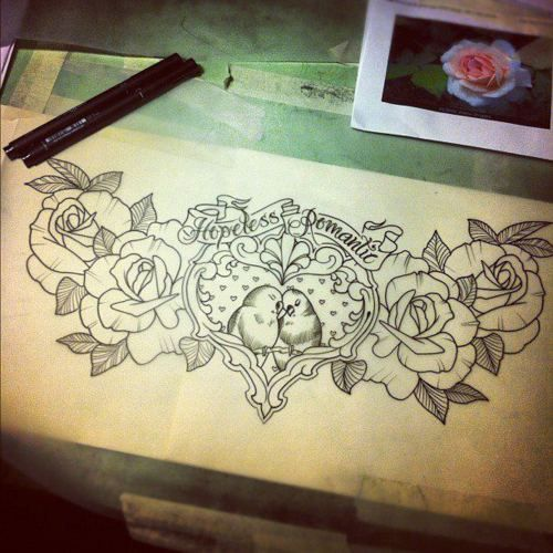 hopeless romantic tattoo stencil love it on my adding on flower tattoos pinterest tattoo. Black Bedroom Furniture Sets. Home Design Ideas