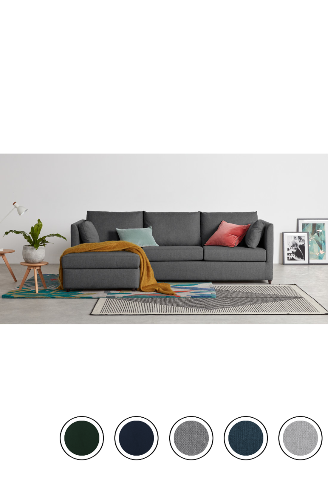 Milner Left Hand Facing Corner Storage Sofa Bed With Foam Mattress