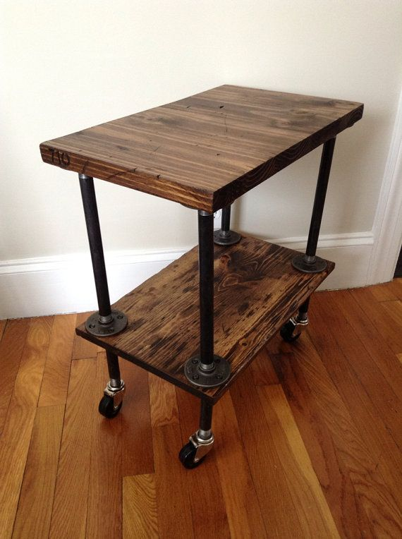 Industrial side table plumbing pipe table wood by jbjunkmarket 165 00 unsure of dimensions