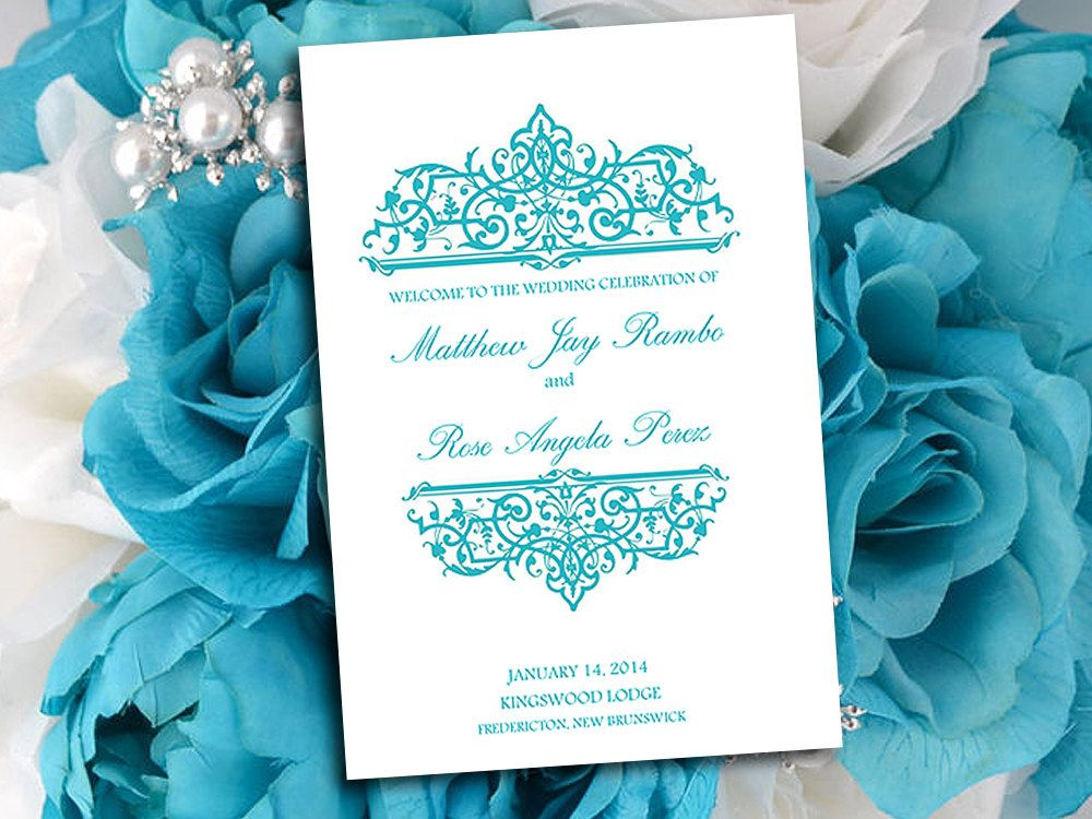 Half Fold Wedding Program Template Microsoft Word Printable Malibu