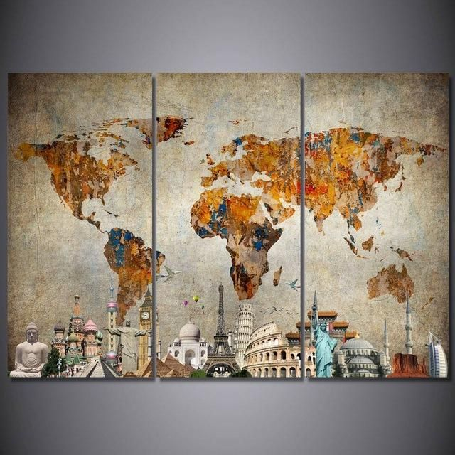 Hd Printed 3 Piece Canvas Art Vintage World Map Painting Room Decor Wall Art Christmas Decorations For Ho 3 Piece Canvas Art World Map Painting Canvas Wall Art