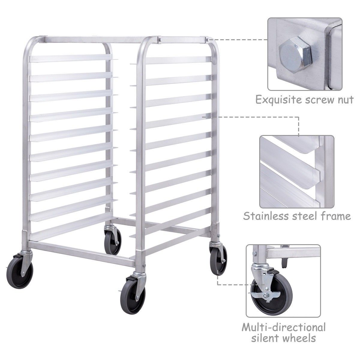10 Sheet Aluminum Rolling Bakery Pan Rack Storage Design Bakery Full Size Sheets