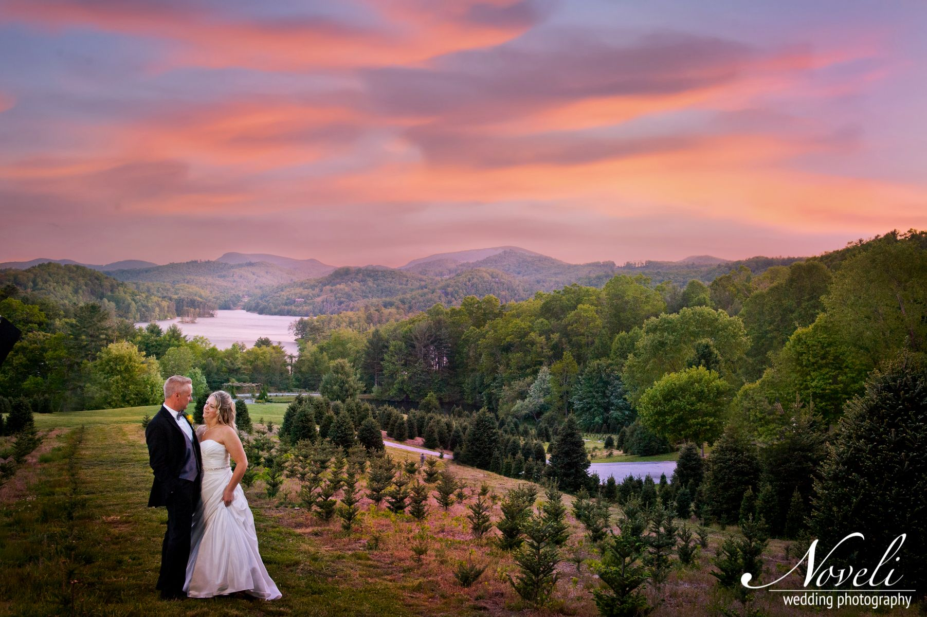 Wedding photo - beautiful sunset against mountains and Lake Glenville, Cashiers, NC.   Nc ...