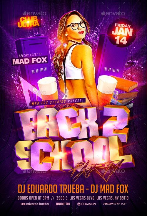 Back 2 School Party Flyer Template - http\/\/ffflyer\/back-2 - pool party flyer template