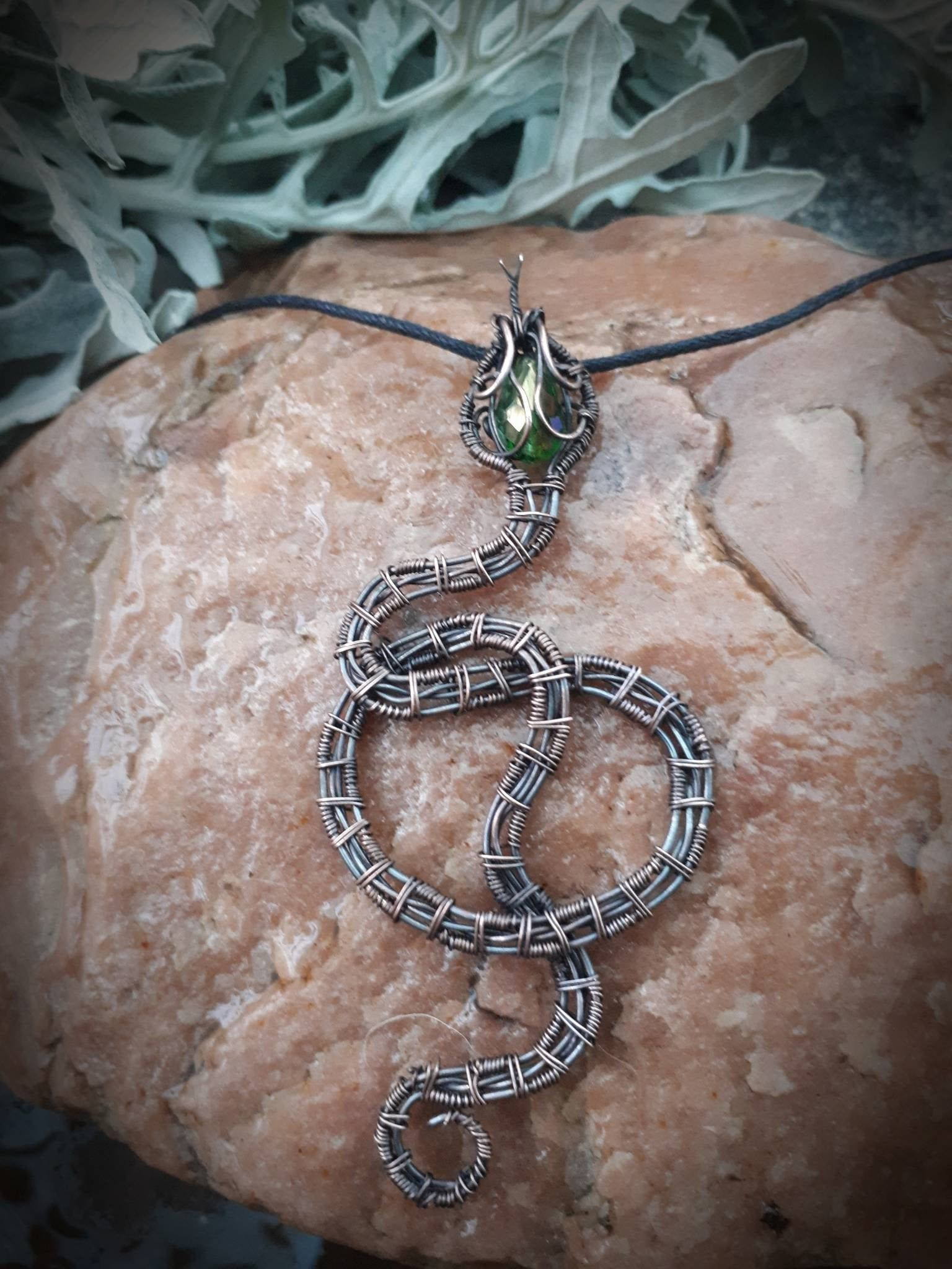 Photo of Snake pendant, Halloween gift, Wire Wrapped copper / brass necklace with crystals, Easter gifts