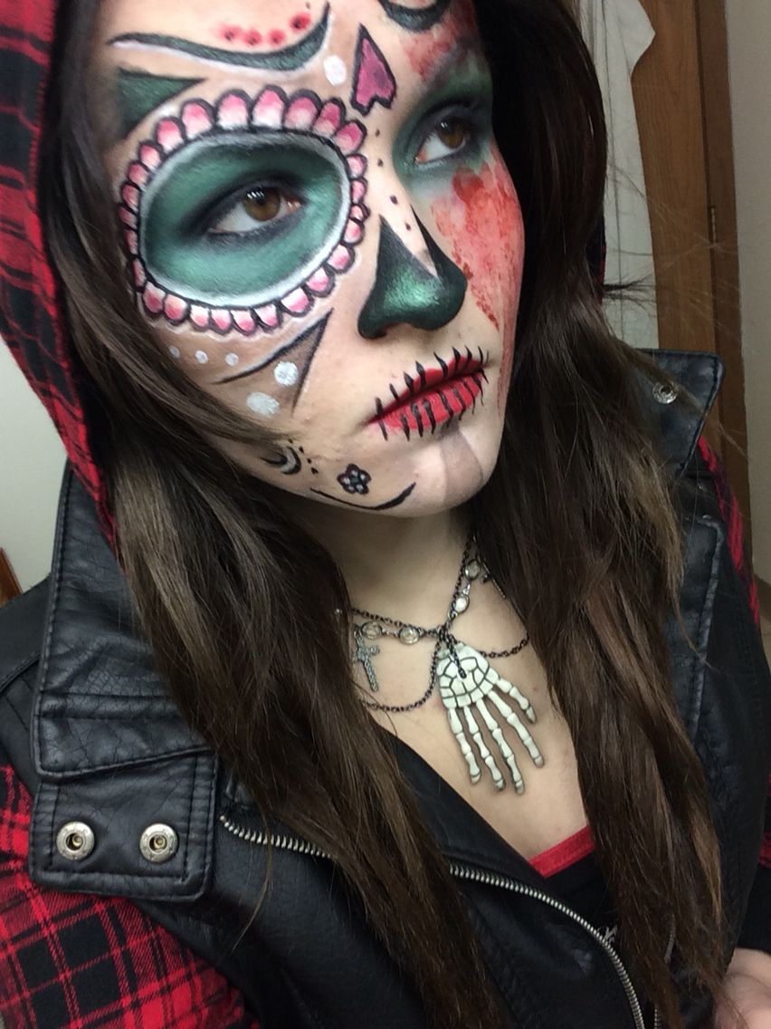 day of the dead zombie halloween facepaint makeup blood cute - Zombies Pictures For Halloween