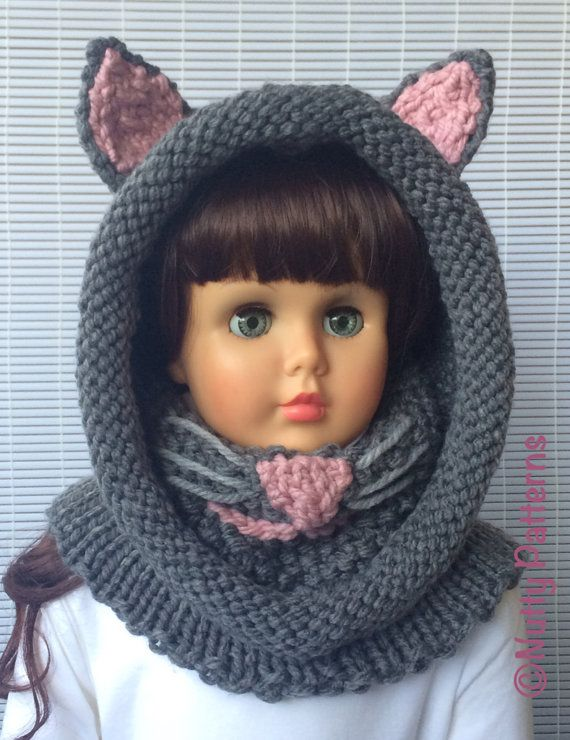 Knitting patterns Cat Hooded Cowl Instant download Pattern | Picasa ...
