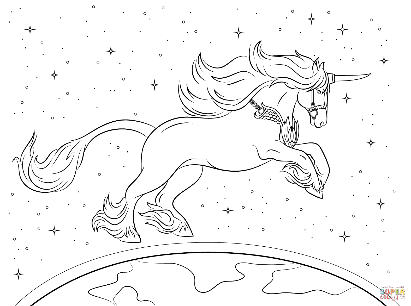 Realistic unicorn coloring pages download and print for