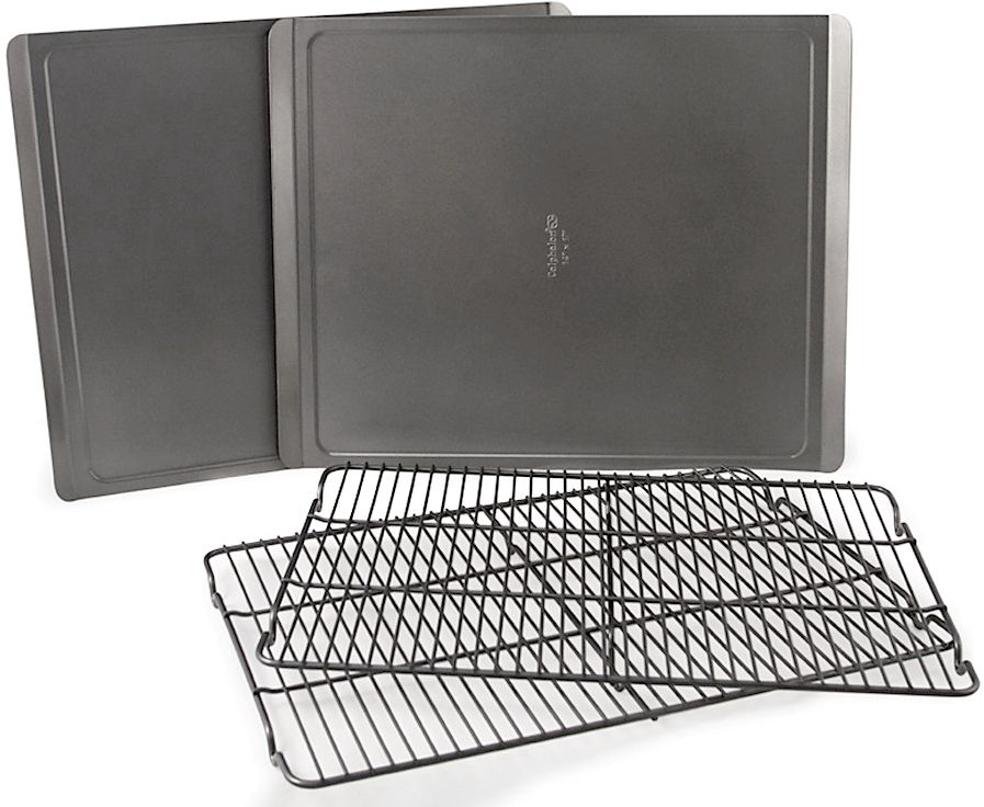 A staple in both professional and home kitchens, the Calphalon Classic Bakeware cookie sheet and cooking rack set includes two cookie sheets and two cooling racks so that you can get your cookies baked twice as fast.