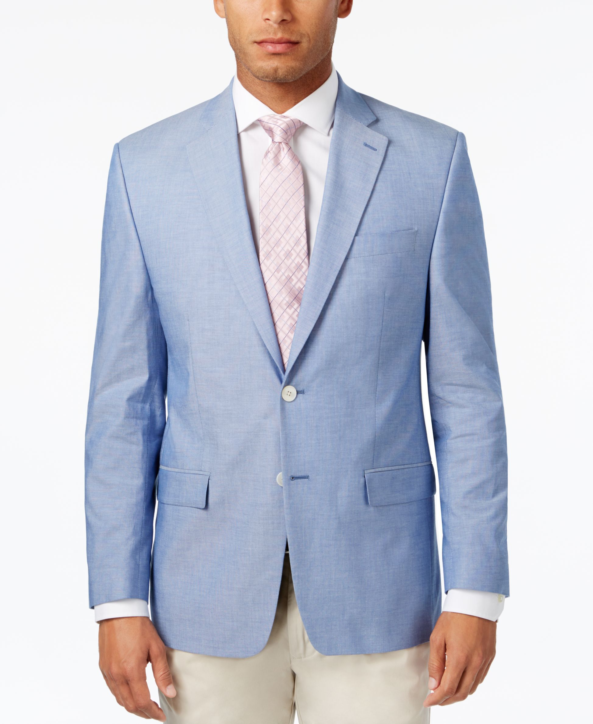 Men\'s Classic-Fit Light Blue Chambray UltraFlex Sport Coat ...