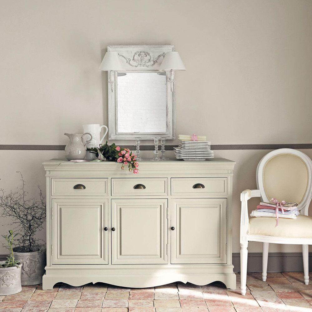 Espejo De Pared Doble De Madera Y Tela Efecto Envejecido Al 70 Cm  # Muebles Efecto Espejo
