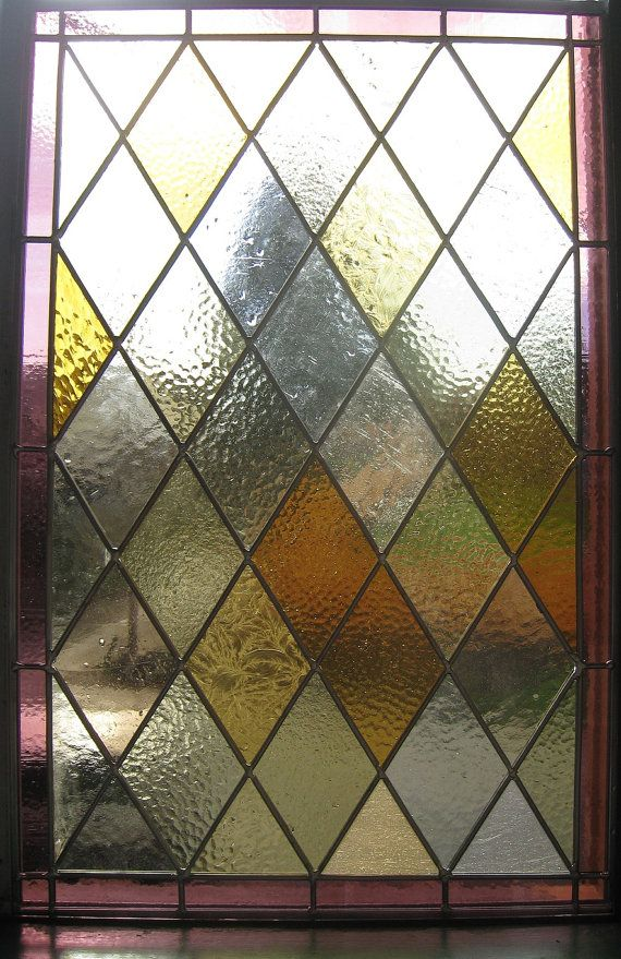 Stained Glass Panel Amber And Purple Diamond By