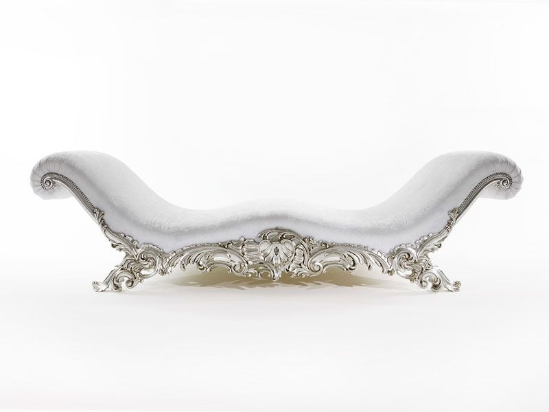 Picture of art 3160 cl luxury classic chaise longue for Black and silver chaise lounge